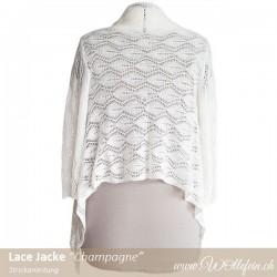Lace Jacke Champagne Strickanleitung Design Ekaterina Arndt www.wollefein.ch Cardigan für Braut aus Kaschmir und Seide