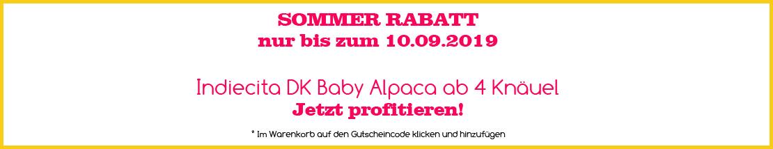 Sommer Rabatt auf Indiecita DK Baby Alpaca ab 4 Knäuel bis zum 10.09.2019